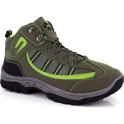 """Buty trekkingowe męskie: Skórzane buty trekkingowe """"Lucania"""" w kolorze zielonym"""