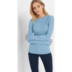 Prążkowany sweter. Niebieskie swetry klasyczne damskie marki Orsay, xs, z dzianiny, z okrągłym kołnierzem. Za 69,99 zł.