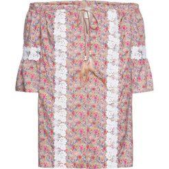 Bluzka w kwiaty bonprix kamienisty z nadrukiem. Szare bluzki koronkowe bonprix. Za 44,99 zł.