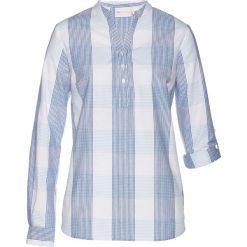 Bluzki damskie: Bluzka bonprix niebiesko-jasnoniebiesko-biały w kratę