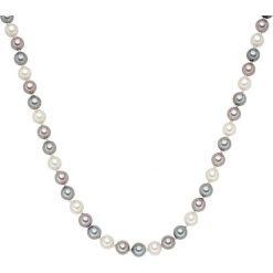 Naszyjniki damskie: Naszyjnik z pereł w kolorze lawendowo-szaro-białym – dł. 42 cm