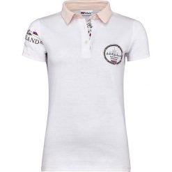 """Bluzki damskie: Koszulka polo """"Islands"""" w kolorze białym"""