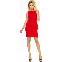Czerwona Sukienka Ołówkowa bez Rękawów z Asymetryczną Baskinką. Czarne sukienki asymetryczne marki bonprix, do pracy, w paski, biznesowe, moda ciążowa. Za 129,90 zł.