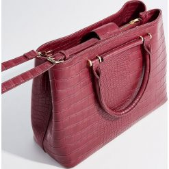 Torba z odpinanym paskiem - Bordowy. Czerwone torebki klasyczne damskie marki Mohito, z bawełny. Za 139,99 zł.