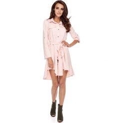 Sukienki: Różowa Koszulowa Sukienka w Militarnym Stylu