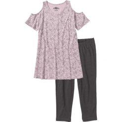 Piżamy damskie: Piżama z legginsami 3/4 bonprix matowy jasnoróżowy – szary z nadrukiem