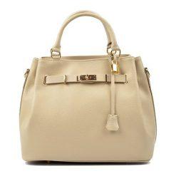 Torebki klasyczne damskie: Skórzana torebka w kolorze beżowym – (S)38 x (W)30 x (G)20 cm