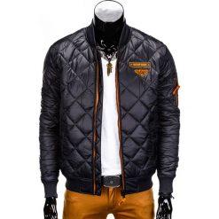 KURTKA MĘSKA PRZEJŚCIOWA PIKOWANA C317 - CZARNA. Czarne kurtki męskie pikowane Ombre Clothing, m, z nylonu, eleganckie. Za 109,00 zł.