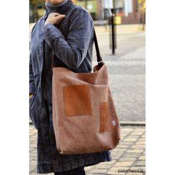 Shopper Brown. Brązowe shopper bag damskie Pakamera, w paski, z bawełny. Za 140,00 zł.