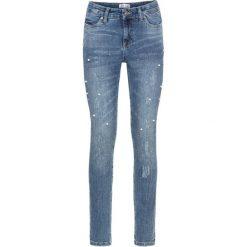 """Dżinsy SKINNY ze zdobieniami bonprix niebieski """"stone used"""". Niebieskie jeansy damskie marki House, z jeansu. Za 149,99 zł."""