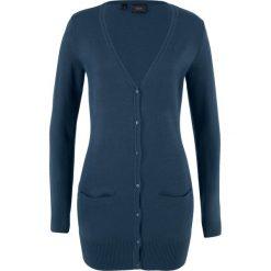 Długi sweter rozpinany bonprix ciemnoniebieski. Niebieskie kardigany damskie marki bonprix, w prążki. Za 49,99 zł.