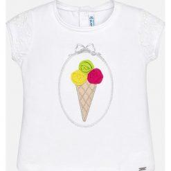 Mayoral - Top dziecięcy 68-98 cm. Szare bluzki dziewczęce Mayoral, z aplikacjami, z bawełny, z dekoltem w łódkę, z krótkim rękawem. Za 64,90 zł.
