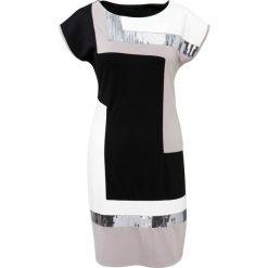 Sukienki: Sukienka bonprix czarno-jasnoszaro-kremowy