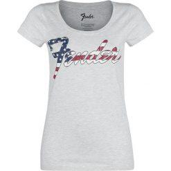 Fender USA Print Koszulka damska odcienie szarego. Szare bluzki asymetryczne Fender, l, z nadrukiem, rockowe, z okrągłym kołnierzem. Za 54,90 zł.