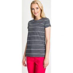 Bluzki asymetryczne: Granatowa bluzka w paski QUIOSQUE
