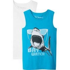 Koszulka bez rękawów (2 szt.) bonprix lodowy niebieski z nadrukiem + biały. Czarne bluzki dziewczęce z nadrukiem marki bonprix, z dresówki. Za 35,98 zł.