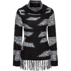 Sweter z frędzlami bonprix czarno-jasnoszary w paski. Czarne golfy damskie bonprix, w paski. Za 89,99 zł.