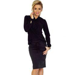 Czarna Bluzka Elegancka z Wiązaną Szarfą. Czarne bluzki longsleeves marki Molly.pl, l, z jeansu, biznesowe. Za 109,90 zł.