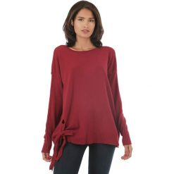 Swetry oversize damskie: Sweter w kolorze bordowym