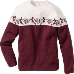 Swetry klasyczne męskie: Sweter norweski z domieszką wełny Regular Fit bonprix czerwony klonowy – biel wełny wzorzysty