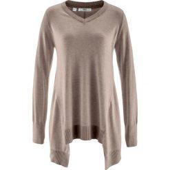Swetry klasyczne damskie: Sweter z dłuższymi bokami, długi rękaw bonprix brunatny melanż