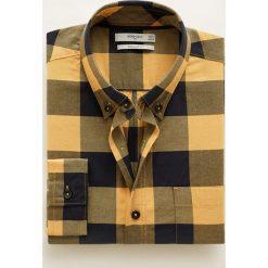 Mango Man - Koszula Claude. Brązowe koszule męskie na spinki Mango Man, l, w kratkę, z bawełny, button down, z długim rękawem. W wyprzedaży za 89,90 zł.
