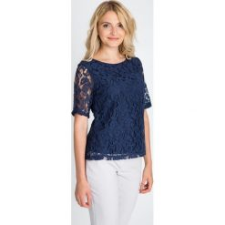 Bluzki asymetryczne: Granatowa koronkowa bluzka QUIOSQUE