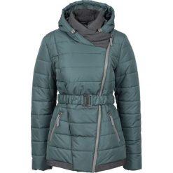 Zimowy krótki płaszcz bonprix szaro-zielony. Zielone płaszcze damskie pastelowe bonprix, na zimę, w paski. Za 239,99 zł.