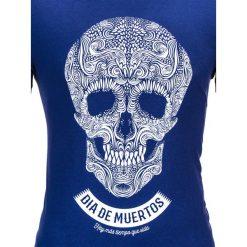 T-SHIRT MĘSKI Z NADRUKIEM S611 - GRANATOWY. Niebieskie t-shirty męskie z nadrukiem Ombre Clothing, m, z bawełny. Za 29,00 zł.