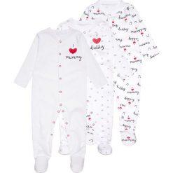 Mothercare UNISEX MUMMY AND DADDY SLEEPSUIT BABY 3 PACK  Piżama black/white. Białe bielizna dziewczęca mothercare, z bawełny. Za 129,00 zł.