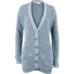 Kardigany damskie: Sweter rozpinany z kieszeniami bonprix jasny indygo - pastelowy miętowy melanż