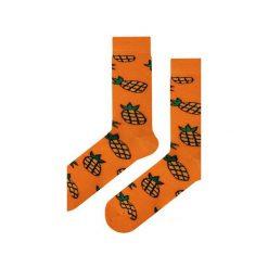 Skarpety pomarańczowe w ananasy. Brązowe skarpetki damskie Em men's accessories, z bawełny. Za 29,99 zł.