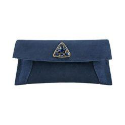 Puzderka: Skórzana kopertówka w kolorze niebieskim – (S)32 x (W)14 cm