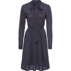 Sukienka bonprix ciemnoniebiesko-biało-koniakowy z nadrukiem. Niebieskie długie sukienki marki bonprix, w kropki, z długim rękawem, rozkloszowane. Za 129,99 zł.