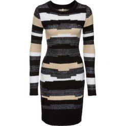 Sukienka dzianinowa bonprix jasnoszaro-czarny. Czarne sukienki dzianinowe bonprix, w kolorowe wzory. Za 129,99 zł.