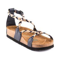 Sandały damskie: Skórzane sandały w kolorze granatowym