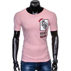 T-SHIRT MĘSKI Z NADRUKIEM S984 - PUDROWY RÓŻ. Czerwone t-shirty męskie z nadrukiem Ombre Clothing, m. Za 29,00 zł.