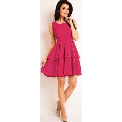 Różowa Elegancka Rozkloszowana Sukienka z Baskinką. Czarne sukienki balowe marki bonprix, do pracy, w paski, moda ciążowa. Za 129,90 zł.