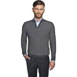 Sweter blanc troyer grafit. Szare swetry klasyczne męskie marki Recman, m, z kołnierzem typu troyer. Za 149,99 zł.