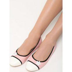 Różowe Balerinki White Daisy. Białe baleriny damskie lakierowane Born2be, ze skóry, na płaskiej podeszwie. Za 39,99 zł.