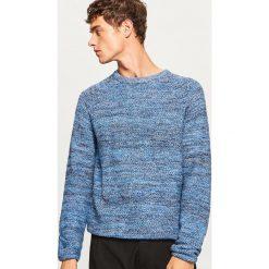 Sweter z raglanowym rękawem - Niebieski. Niebieskie swetry klasyczne męskie marki bonprix, l, melanż, z kapturem. Za 99,99 zł.