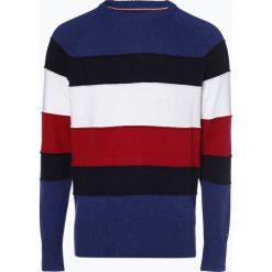 Tommy Hilfiger - Sweter męski, niebieski. Niebieskie swetry klasyczne męskie TOMMY HILFIGER, m, w paski, z bawełny. Za 549,95 zł.