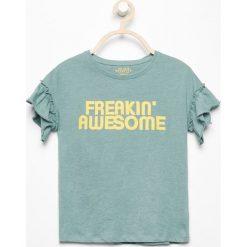 T-shirty damskie: T-shirt z falbankami przy rękawach – Turkusowy