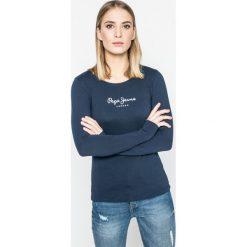 Pepe Jeans - Bluzka New Virginia. Szare bluzki asymetryczne Pepe Jeans, l, z nadrukiem, z bawełny, casualowe, z okrągłym kołnierzem. W wyprzedaży za 89,90 zł.