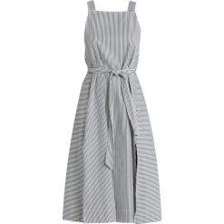 Madewell STRIPE APRON MIDI DRESS WITH TIE Długa sukienka deep shadow. Szare długie sukienki Madewell, z bawełny, z długim rękawem. Za 629,00 zł.