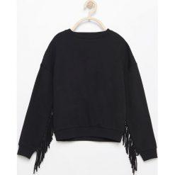 Odzież dziecięca: Bluza z frędzlami na rękawach - Czarny