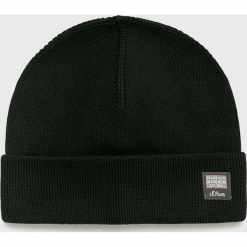 S. Oliver - Czapka. Czarne czapki zimowe męskie marki S.Oliver, na zimę, z bawełny. W wyprzedaży za 59,90 zł.