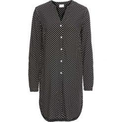 Długa bluzka bonprix czarny w kropki. Niebieskie bluzki longsleeves marki bonprix, z nadrukiem. Za 69,99 zł.