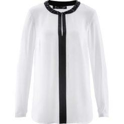 Tunika bonprix biel wełny - czarny. Białe tuniki damskie bonprix, z wełny, z okrągłym kołnierzem. Za 109,99 zł.