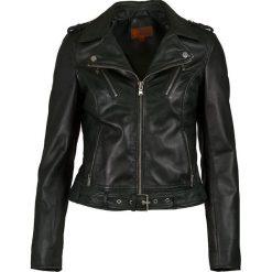 Bomberki damskie: Skórzana kurtka w kolorze ciemnozielonym